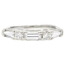 Vintage 0.80 CTW Baguette Diamond Platinum Anniversary Stacking Band Ring