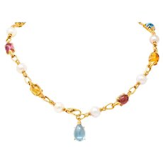 Bulgari Allegra Tourmaline Citrine Topaz Pearl Diamond 18 Karat Gold Station Chain Link Necklace