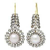 Victorian Diamond Natural Saltwater Pearl Silver-Topped Gold Foliate Drop Earrings GIA