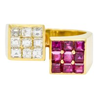 Vintage 1.80 CTW Ruby Diamond 18 Karat Gold Square Bypass Ring