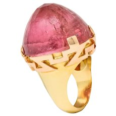 SeidenGang Vintage Pink Tourmaline 14 Karat Gold Cocktail Ring