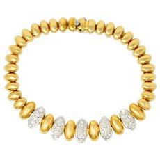 Vintage 1.75 CTW Pave Diamond 18 Karat Yellow Gold Oval Link Bracelet