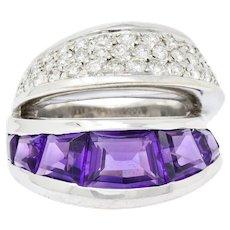 Vintage Vasari 1.52 CTW Diamond Amethyst 18 Karat White Gold Band Ring
