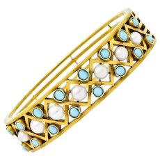 Victorian Russian Pearl Turquoise 14 Karat Gold Decorous Bangle Bracelet