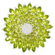 Contemporary Diamond Peridot 18 Karat White Gold Radiating Floral Brooch