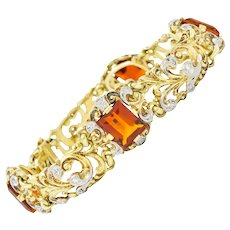 Edwardian 11.60 CTW Citrine Diamond Platinum-Topped 14 Karat Gold Scrolled Link Bracelet