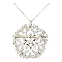 Edwardian 6.00 CTW Diamond Platinum-Topped 14 Karat Gold Floral Pendant Brooch Necklace