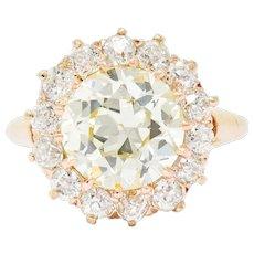 Retro 4.94 CTW Old European Cut Diamond 14 Karat Rose Gold Cluster Engagement Ring GIA