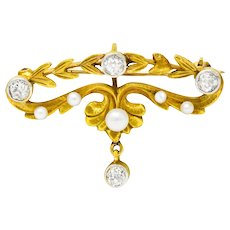 Art Nouveau Diamond Pearl Platinum-Topped 14 Karat Gold Articulated Foliate Brooch