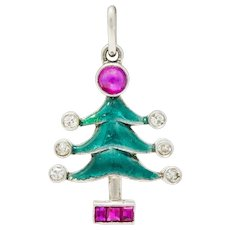 Art Deco Enamel Ruby Diamond Platinum Christmas Tree Charm