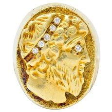 Vintage Diamond 14 Karat Gold Unisex Zeus Signet Ring