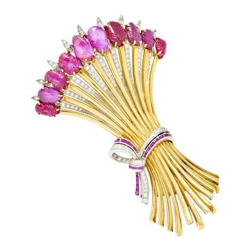 Incredible Retro Diamond Carved Ruby Platinum 14 Karat Gold Ribboned Wheat Brooch