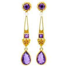 Victorian Amethyst Pearl 14 Karat Gold Foliate Drop Earrings