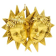 David Webb Vintage 18 Karat Gold Cherub Starburst Pendant