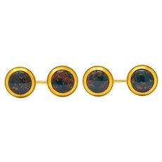 Art Nouveau Bloodstone Cabochon 14 Karat Gold Circular Men's Cufflinks