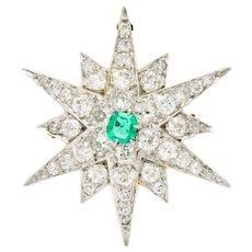 Edwardian Emerald Diamond Platinum-Topped 14 Karat Gold Starburst Pendant Brooch