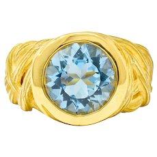 Angela Cummings 3.09 CTW Aquamarine 18 Karat Gold Woven Foliate Ring