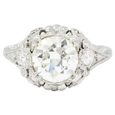 Art Deco Ornate 2.09 CTW Diamond Platinum Floral Engagement Ring