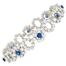 Tiffany & Co. 14.16 CTW Diamond Sapphire Platinum Cluster Link Bracelet