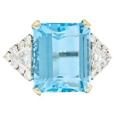 Vintage 17.49 CTW Aquamarine Diamond 14 Karat White Gold Cocktail Ring