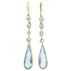 Edwardian Aquamarine Diamond Platinum-Topped Gold Drop Earrings