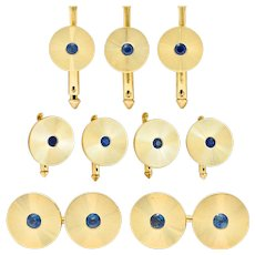 Tiffany & Co. Sapphire 14 Karat Gold Retro Men's Radiating Disk Cufflink Dress Set