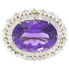 Krementz Edwardian 26.61 CTW Amethyst Diamond Pearl Platinum-Topped 14 Karat Gold Brooch