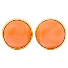 Tiffany & Co. Vintage Coral Cabochon 14 Karat Gold Stud Earrings