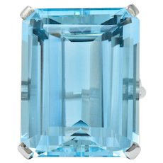 Cartier 36.09 Carat Aquamarine Diamond Platinum Retro Cocktail Ring