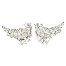 6.50 CTW Retro Diamond Platinum Quail Bird Double Clip Brooches