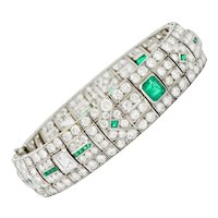 Fancy Art Deco 23.96 CTW Diamond Emerald Platinum Geometric Link Bracelet