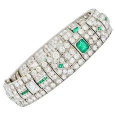 Fancy Art Deco 23.96 CTW Diamond Emerald Platinum Geometric Link Bracelet