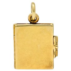 Art Nouveau 14 Karat Gold Articulated Book Charm