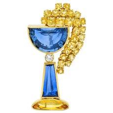 Vintage French 13.60 CTW Sapphire Diamond 18 Karat Gold Goblet Brooch