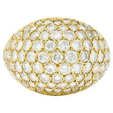 Vintage 3.75 CTW Pave Diamond 14 Karat Gold Bombay Band Ring