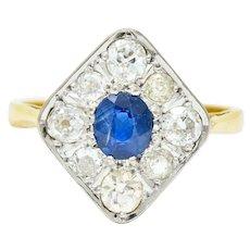 Edwardian 1.77 CTW Sapphire Diamond Platinum-Topped 18 Karat Gold Navette Cluster Ring