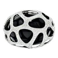 Vintage 3.00 CTW Diamond Onyx 18 Karat White Gold Cage Cocktail Ring