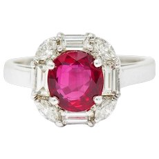 Vintage 2.60 CTW Ruby Diamond 18 Karat White Gold Cluster Ring AGL