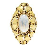Arts & Crafts Moonstone 18 Karat Gold Layered Foliate Ring