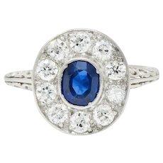 Art Deco 1.70 CTW Sapphire Diamond Platinum Halo Dinner Ring