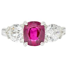 1950's 4.06 CTW Unheated Burmese Ruby Diamond Platinum Three Stone Ring AGL