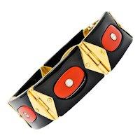 Vintage Diamond Onyx Red Coral 18 Karat Gold Swiss Geometric Link Bracelet