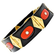 Vintage Diamond Onyx Red Coral 18 Karat Gold Swiss Geometric Link Bracelet