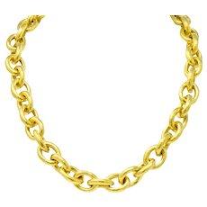 Elizabeth Locke Ruby 19 Karat Gold Substantial Curb Link Chain Collar Necklace