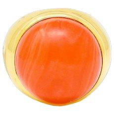 Jacent Vintage Coral Diamond 18 Karat Gold Unisex Cabochon Gemstone Ring