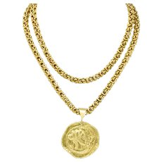 Van Cleef & Arpels Ancient Pendant 18 Karat Gold Artemis Greek Goddess Byzantine Chain Necklace