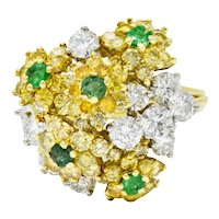 Vintage 3.21 CTW Yellow and White Diamond Emerald 18 Karat Gold Floral Cluster Ring