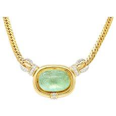 Vintage Diamond Carved Emerald 14 Karat Gold Floral Station Collar Necklace