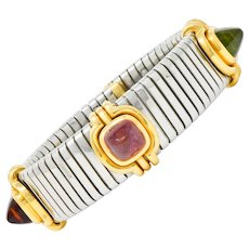 Bulgari Vintage Citrine Peridot Tourmaline Stainless Steel 18 Karat Gold Tubogas Cuff Bracelet