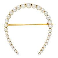 Sloan & Co. Art Nouveau Pearl 14 Karat Gold Horseshoe Brooch